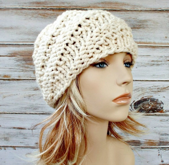 Knit Hat Womens Hat - Swirl Beanie in Starlight Metallic Gold and Cream Knit Hat Cream Hat Womens Accessories Winter Hat