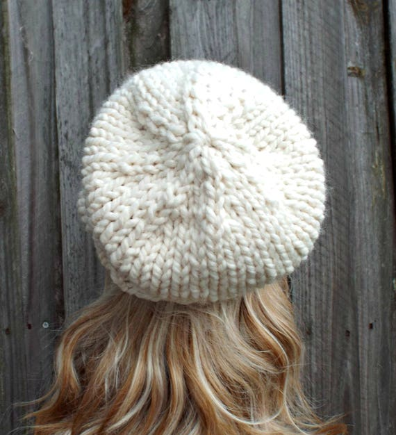 Cream Slouchy Beanie Knit Womens Hat Mens Hat Toque Beanie | Etsy