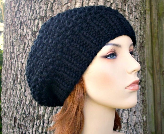 Knit Hat Black Womens Hat Slouchy Beanie - Seed Beret Hat in Black Knit Hat - Black Hat Black Beret Black Beanie Womens Accessories