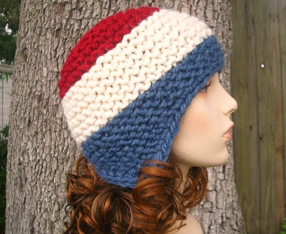 Knit Hat Womens Hat - Garter Helmet Ear Flap Hat in Bomb Pop Red White Blue Knit Hat - Womens Accessories Winter Hat