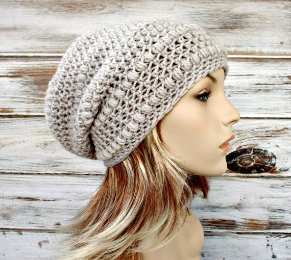 Crochet Hat Women Penelope Puff Stitch Slouchy Beanie Hat in Dove Greige Grey Beige Crochet Hat - Grey Hat Womens Accessories