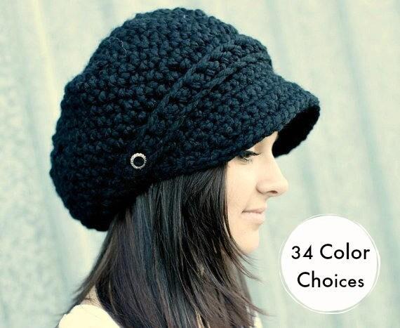 Black Hat Black Newsboy Hat Black Crochet Hat Black Womens Hat Black Slouchy Hat Fall Fashion Winter Accessories - 34 Color Choices