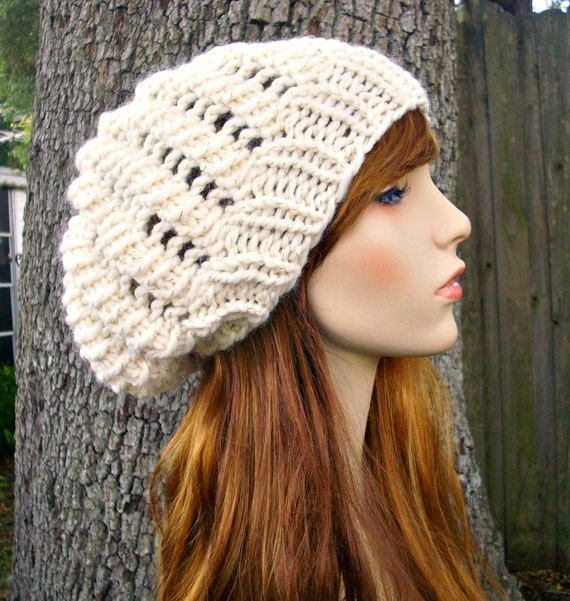 Cream Slouchy Beanie Womens Hat Slouchy Hat Winter Cyclone Beret Starlight Cream Hat Cream Beanie Womens Accessories