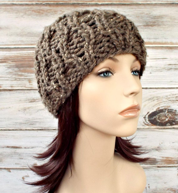 Knit Hat Womens Hat - Amsterdam Beanie in Barley Tweed Taupe Brown Knit Hat - Brown Beanie Brown Hat Womens Accessories Winter Hat