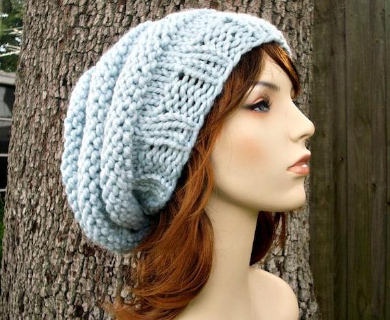 Knit Hat Womens Hat Slouchy Beanie - Oversized Beehive Beret Hat Glacier Blue Knit Hat - Blue Hat Blue Beret Blue Beanie Womens Accessories