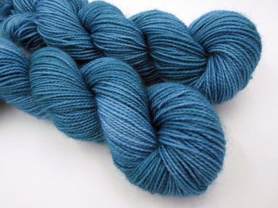 Hand Dyed Sock Yarn Superwash Wool Nylon 80/20 Fingering Weight Yarn Sock Yarn 50 Grams - Tonal Yarn Blue Yarn Blue Sock Yarn - Wedgewood