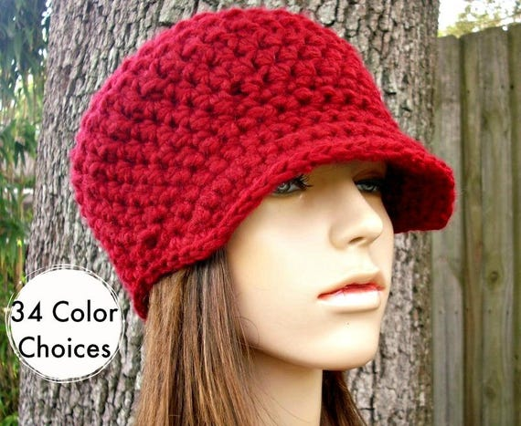 Cranberry Red Newsboy Hat Red Crochet Hat Red Womens Hat - Jockey Cap - Red Hat Red Beanie Crochet Accessories Winter Hat