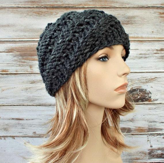 Knit Hat Grey Womens Hat Grey Mens Hat - Swirl Beanie in Granite Grey Knit Hat - Grey Hat Grey Beanie Womens Accessories Winter Hat