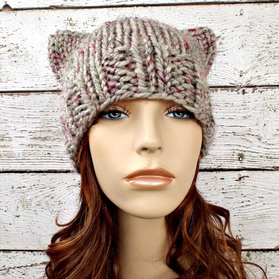 Knit Hat Womens Hat - Cat Beanie Hat in Shadow Frost Tweed Grey Knit Hat - Grey Hat Grey Beanie Grey Cat Hat Womens Accessories Winter Hat