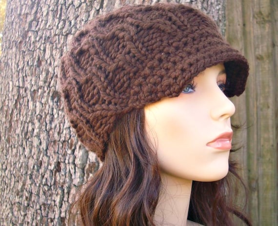 Knit Hat Brown Womens Hat Brown Newsboy Hat - Amsterdam Cable Beanie Chocolate Brown Knit Hat - Brown Hat Brown Beanie Womens Accessories