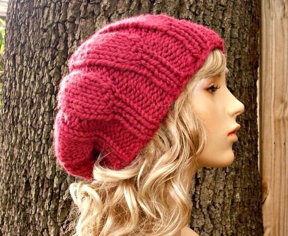 Knit Hat Womens Hat Slouchy Beanie - Urchin Beret Hat in Raspberry Pink Knit Hat - Pink Beret Pink Hat Womens Accessories