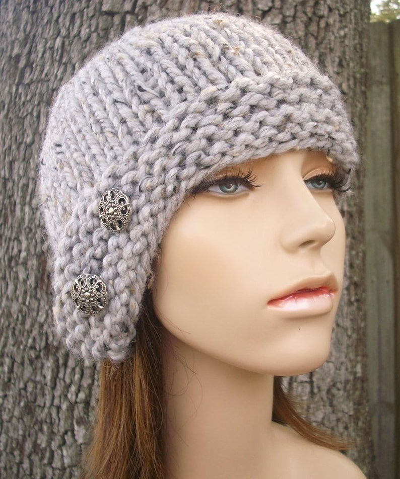 Grey Womens Hat Grey Hat Grey Beanie Womens Accessories Fall Fashion Winter Hat Grey Cloche Hat Marble Tweed Grey Knit Hat