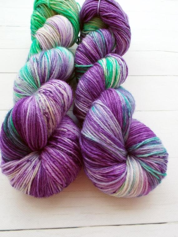 Hand Dyed Yarn Hand Dyed Sock Yarn Superwash Merino Nylon Blend 80/20 Fingering Weight Yarn - Speckled Yarn Green Purple - Swizzle Sticks