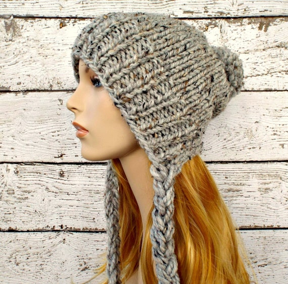 Instant Download Knitting Pattern Slouchy Ear Flap Hat | Etsy