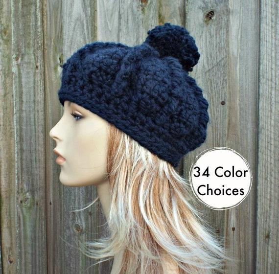 Crochet Hat Womens Hat - Oversized Monarch Ribbed Beret Navy Pom Pom Hat - Navy Hat Navy Beret Navy Beanie - 34 Color Choices