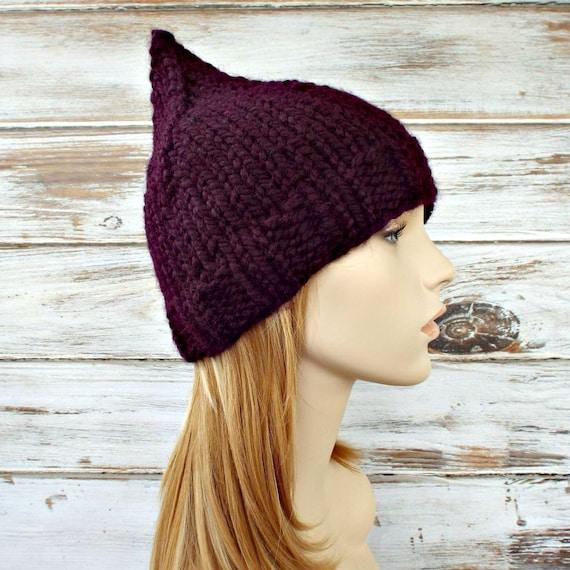 Purple Womens Hat - Purple Gnome Hat Eggplant Purple Knit Hat - Purple Hat Purple Beanie Womens Accessories Winter Hat