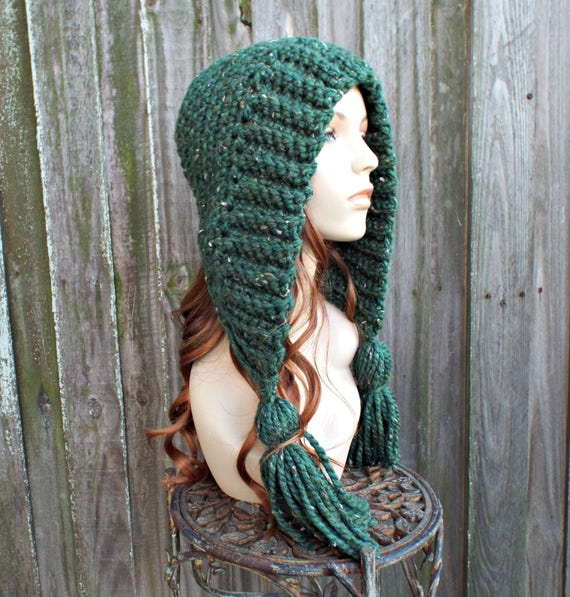Kale  Green Crochet Hat Green Womens Hat Green Hat - Green Hood Green Tassel Hat Green Ear Flap Hat - Green Winter Hat - 34 Color Choices