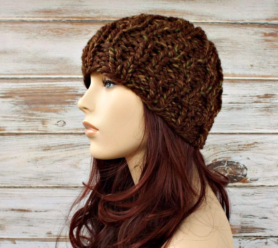 Mesquite Brown Cable Beanie Knit Hat Womens Hat - Amsterdam Cable Beanie - Brown Hat Brown Beanie Womens Accessories Winter Hat