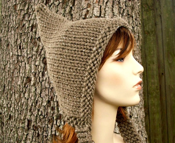 Womens Hat - Brown Pixie Hat Gemstone Metallic Taupe Brown Knit Hat - Taupe Hat Brown Hat Taupe Pixie Hat Womens Accessories Winter Hat