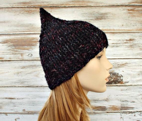 Grey Womens Hat - Grey Gnome Hat Blackstone Black Charcoal Grey Knit Hat - Grey Hat Black Hat Womens Accessories Winter Hat