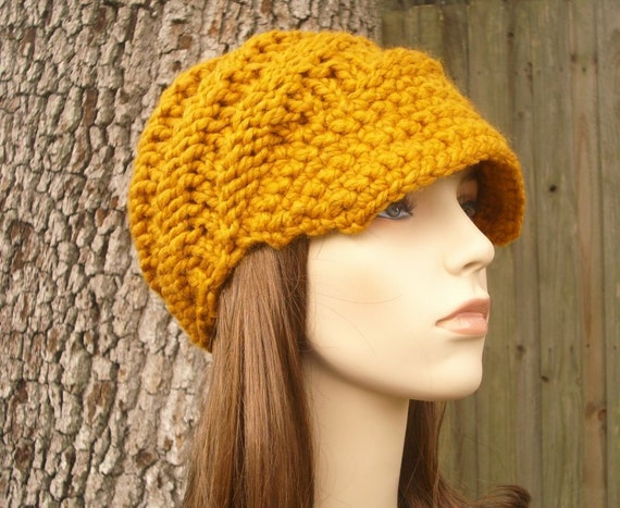 72fbf7f044e67e ... Knit Hat Womens Hat Mustard Newsboy Hat - Swirl Beanie with Visor in  Mustard Yellow Knit