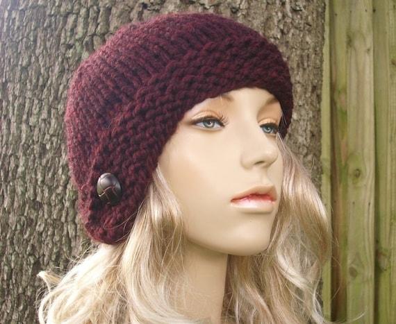 Knit Hat Red Womens Hat - Cloche Hat in Oxblood Wine Red Knit Hat - Red Hat Red Beanie Red Cloche Womens Accessories Winter Hat