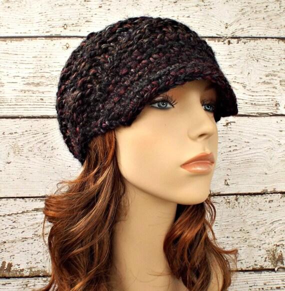 Knit Hat Womens Hat Grey Newsboy Hat - Swirl Beanie with Visor in Blackstone Black Maroon Charcoal Grey Knit Hat - Womens Accessories