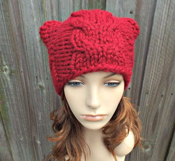 Red Knit Hat Red Womens Hat - Cranberry Red Cable Cat Beanie - Red Hat Red Cat Hat Red Beanie Red Cat Beanie Womens Accessories Winter Hat