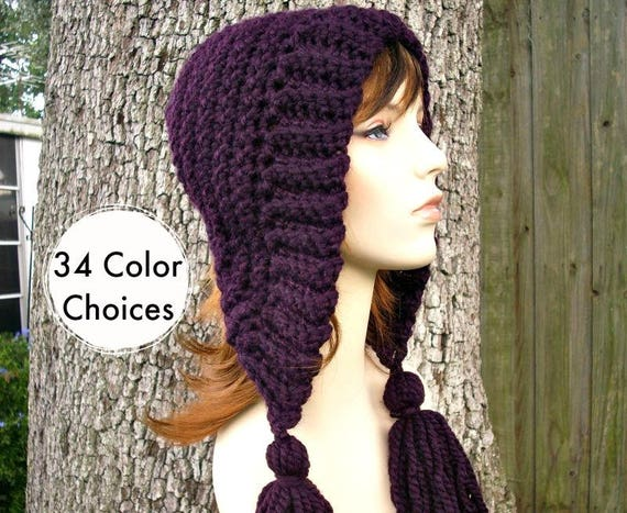 Womens Crochet Hat Womens Hat Crochet Hood Tassel Hat in Eggplant Purple Crochet Hat - Purple Hat Purple Hood Womens