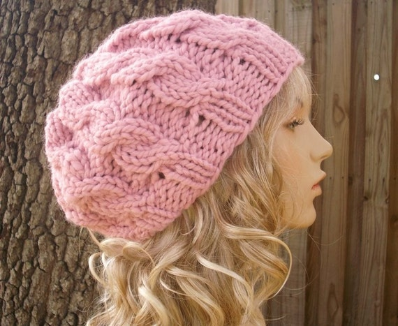 Knit Hat Womens Hat Pink Cable Beret Hat in Blossom Pink  11dba0e8ffe