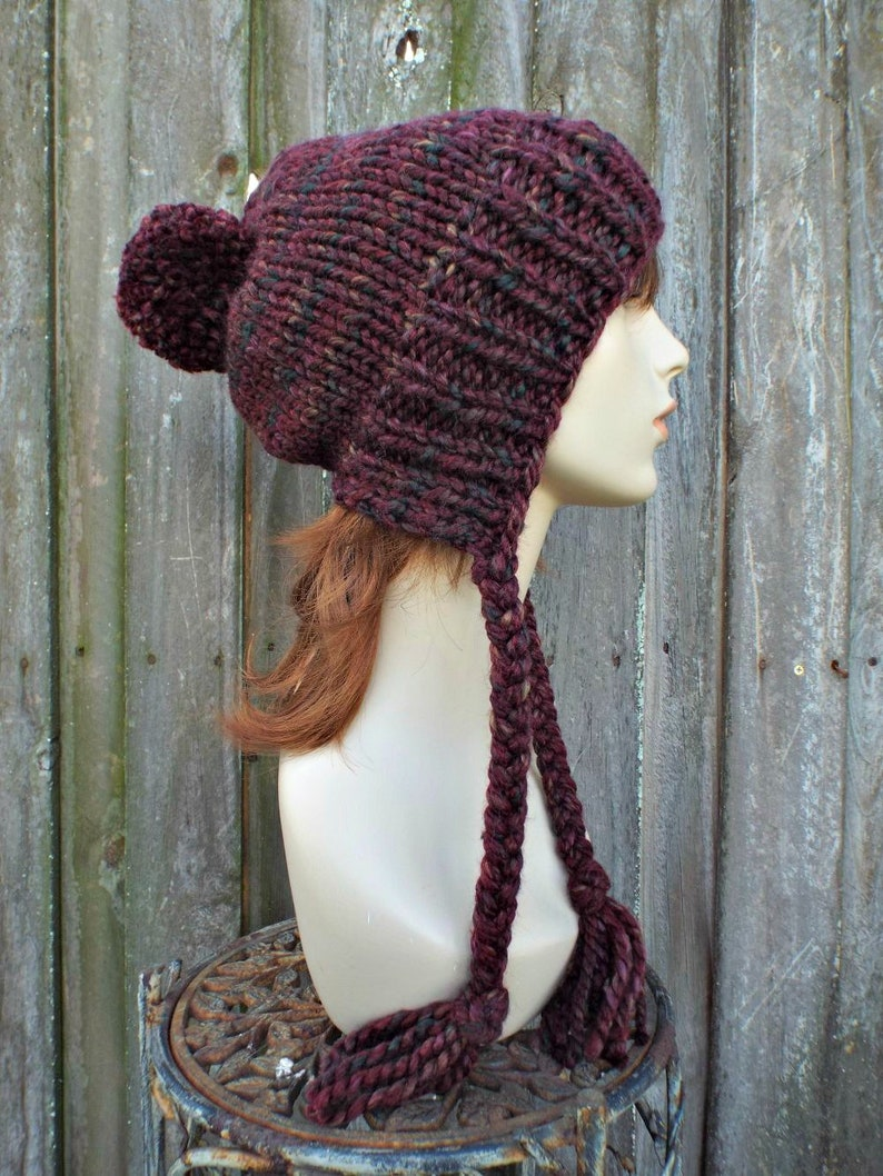 66fc14a74b8 Dark Red Chunky Knit Hat Womens Spiced Apple Pom Pom Hat
