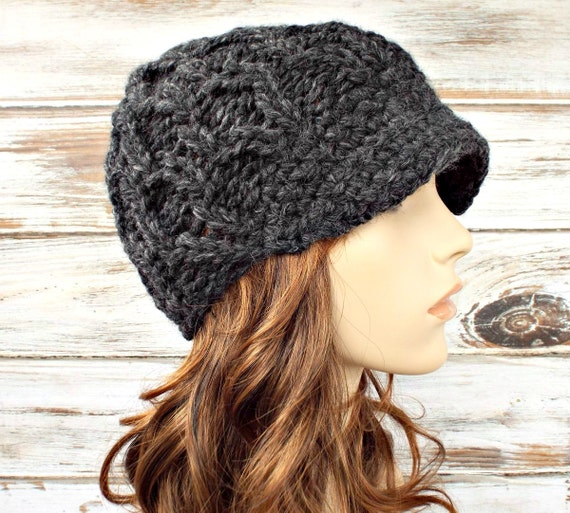 Charcoal Grey Newsboy Hat Chunky Knit Hat Womens Hat - Amsterdam Cable Beanie Grey Hat Grey Beanie Womens Accessories
