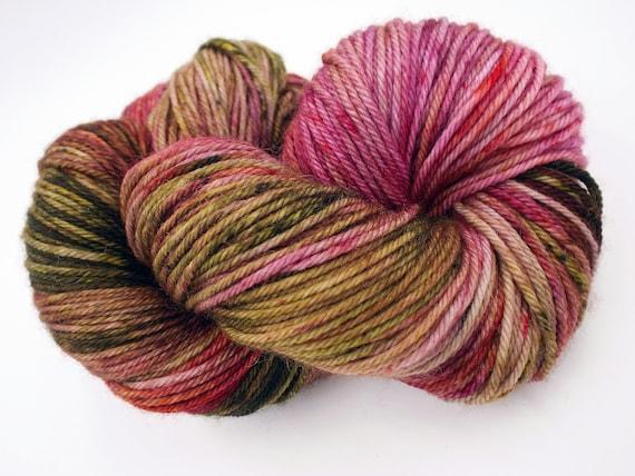 Hand Dyed Yarn 100% Superwash Merino Yarn Worsted Weight Yarn - 220 Yards - Variegated Pink Yarn Green Yarn - Moss Rose