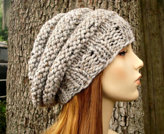 Knit Hat Womens Hat - Original Beehive Beret Hat Tweed Grey Knit Hat - Grey Hat Grey Beret Grey Beanie Chunky Knit Hat Womens Accessories