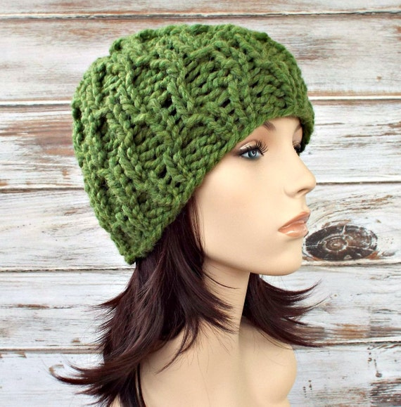 Knit Hat Green Womens Hat Mens Hat - Amsterdam Cable Beanie in Grass Green Knit Hat - Green Hat Green Beanie Womens Accessories Winter Hat