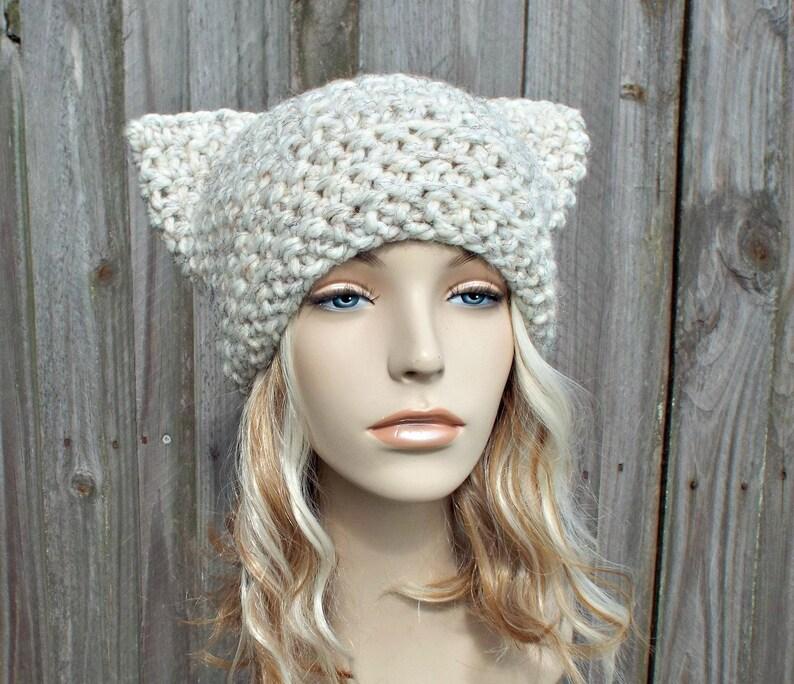 Cream Cat Hat Thermal Crochet Womens Winter Beanie in Cream Tweed Wheat Pussyhat Pussy Hat
