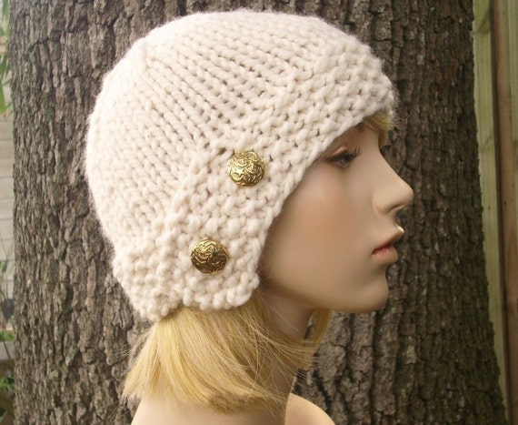 Cream Womens Hat - Cream Cloche Hat Cream Knit Hat - Chunky Knit Hat Cream Hat Cream Beanie Womens Accessories Fall Fashion Winter Hat
