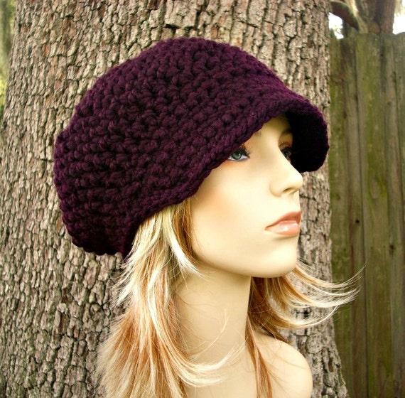 Purple Womens Hat Purple Newsboy Hat - Crochet Newsboy Hat Eggplant Purple Crochet Hat - Purple Hat Womens Accessories Winter Hat