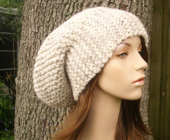 Knit Hat Womens Hat Slouchy Beanie - Slouchy Hat in Wheat Cream Knit Hat - Wheat Hat Wheat Beanie Cream Hat Womens Accessories Winter Hat
