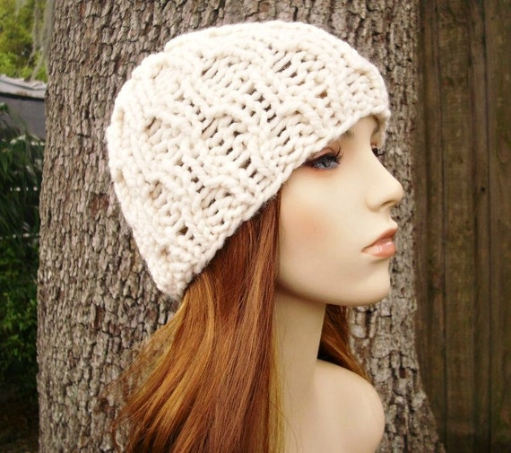Cream Womens Hat - Amsterdam Cable Beanie Cream Knit Hat - Cream Beanie Cream Hat Chunky Knit Hat Womens Accessories Winter Hat