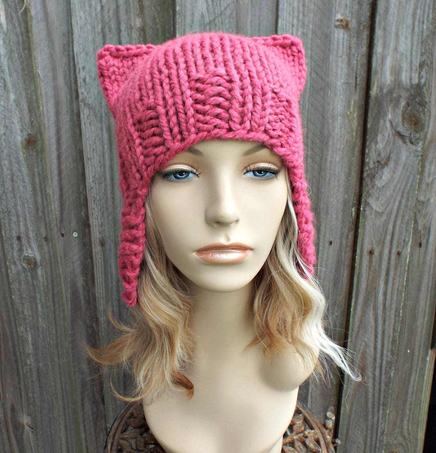 Pink Pussyhat Pink Cat Hat Womens Hat - Pink Ear Flap Cat Hat - Ear Flap Hat  Pink Hat Pink Beanie Pink Pussy Hat - READY TO SHIP 7755a88adf4