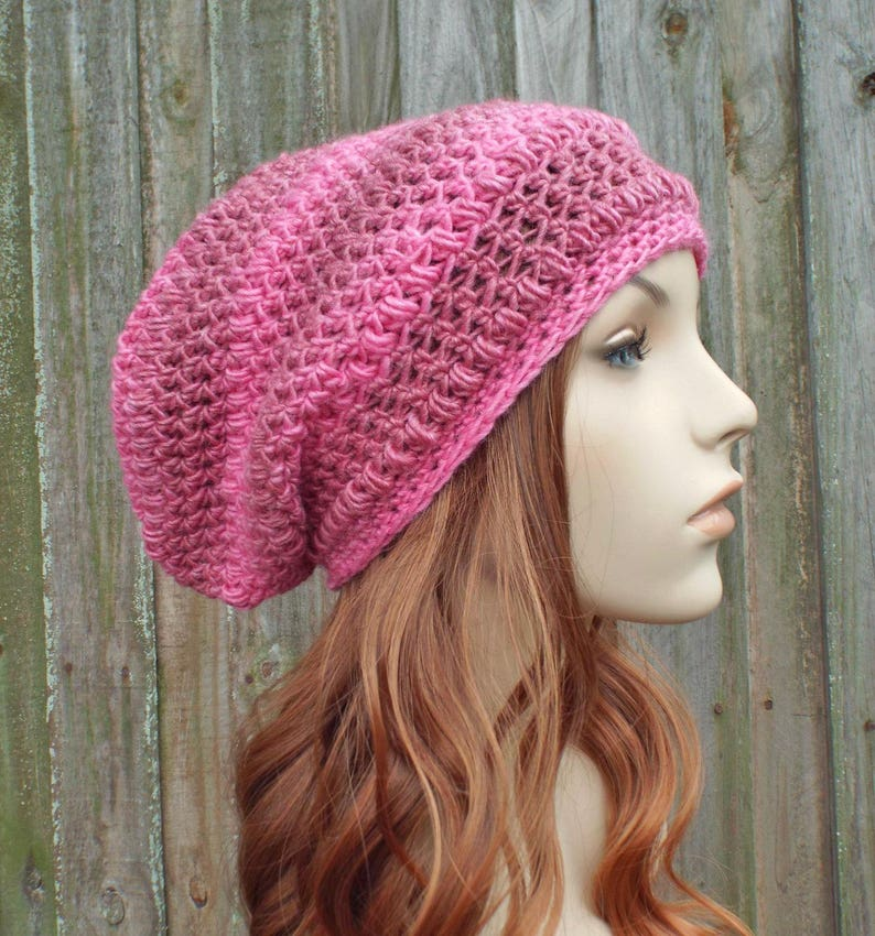 5f22f4b80e113e Pink Womens Hat Penelope Puff Stitch Slouchy Beanie Hat   Etsy