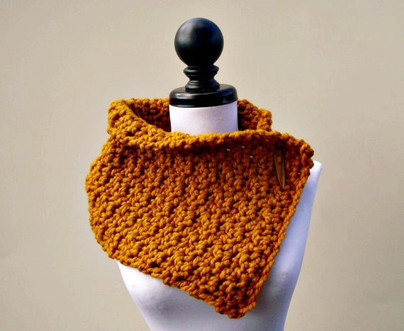 Crocheted Cowl Scarf - Lucienne Cowl in Mustard Yellow - Yellow Cowl Mustard Cowl Yellow Scarf Mustard Scarf Womens Accessories