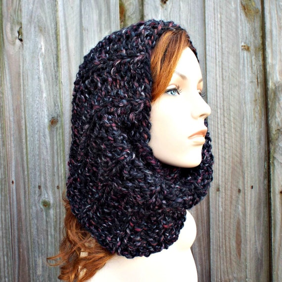 Black Chunky Scarf - Twilight Cowl Scarf Blackstone Black Grey Knit Cowl - Black Scarf Black Cowl Grey Scarf Grey Cowl Womens Accessories