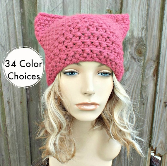 Pink Cat Hat - Thermal Crochet Womens Winter Beanie in Raspberry - Pink Pussyhat Project Pink Pussy Hat - 34 Color Choices