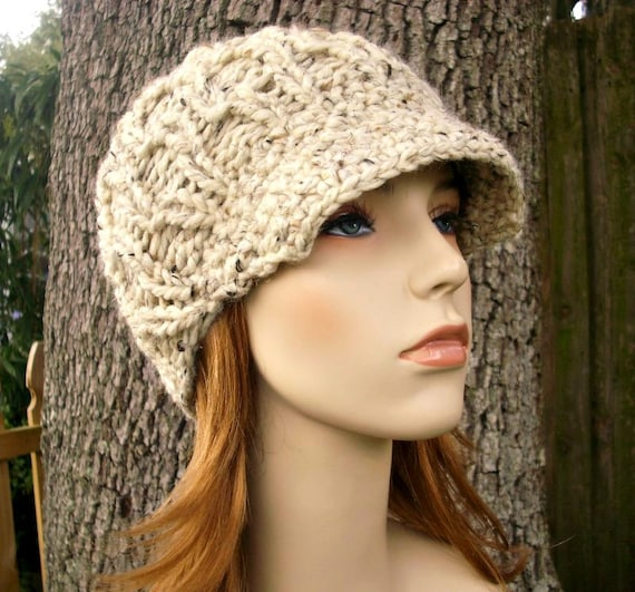 Oatmeal Womens Hat Oatmeal Newsboy Hat - Amsterdam Cable Beanie with Visor Oatmeal Knit Hat - Oatmeal Hat Oatmeal Beanie Womens Accessories
