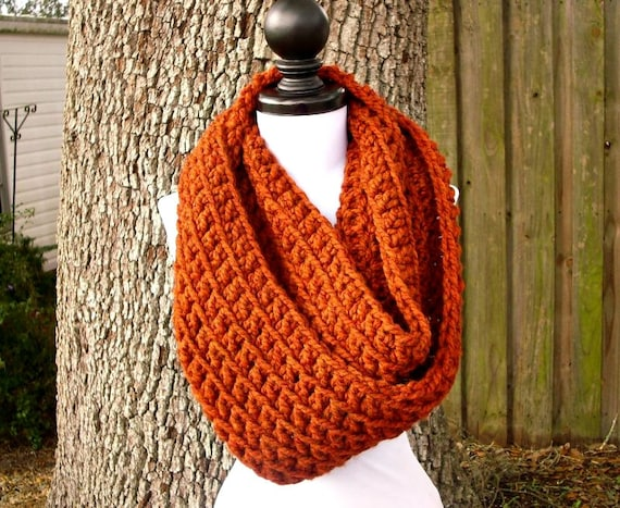 Burnt Orange Cowl Scarf Infinity Scarf Crocheted Oversized Cowl - Vermonter Infinity Cowl - Burnt Orange Scarf Womens Accessories