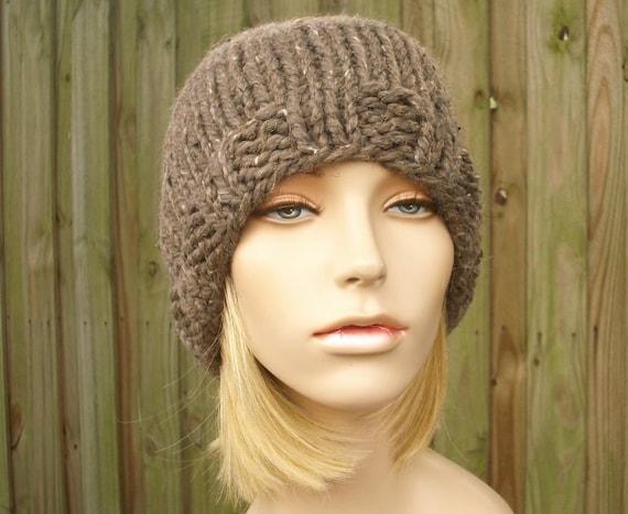 Knit Hat Womens Hat Brown Mens Hat - Ribbed Brim Skullcap in Barley Brown Knit Hat - Brown Hat Brown Beanie Womens Accessories Winter Hat