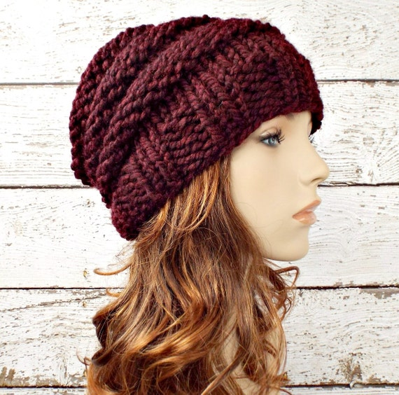 Burgundy Red Knit Hat Red Womens Hat - Beehive Beanie - Red Beanie Red Hat Burgundy Hat Burgundy Beanie Womens Accessories Winter Hat