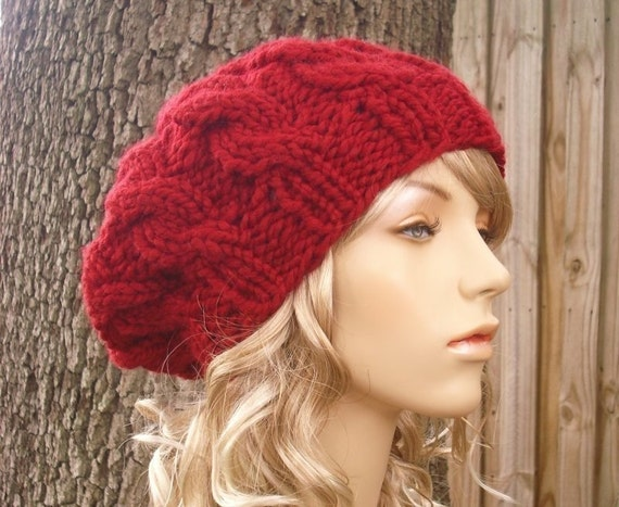 Cranberry Red Cable Beret Knit Hat Womens Hat Red Slouchy  1d3bf10ed9b